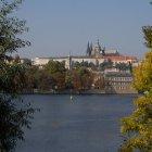 Взгляд на Прагу между осенними деревьями
