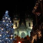 Новогодняя обстановка на Староместской в Праге