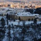 Зима в Праге с высоты Петршинского холма