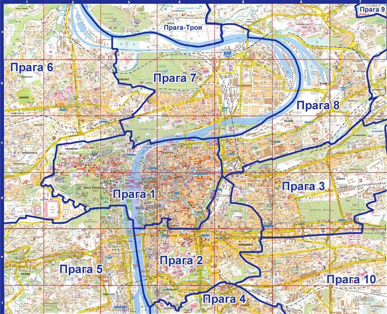 Карта Праги на русском языке: